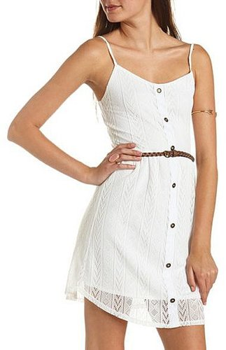 Belted Lace Button-Front Dress