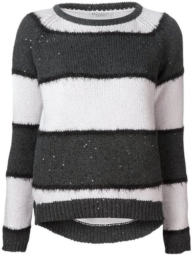 Brunello Cucinelli sequin striped sweater