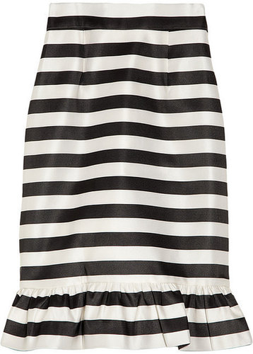 Mother of Pearl Bella striped silk-satin skirt