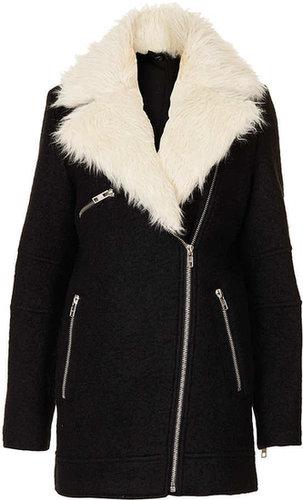Fur Collar Textured Biker Jacket