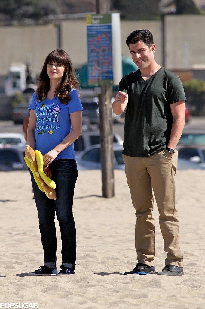 Max Greenfield and Zooey Deschanel filmed New Girl in LA.