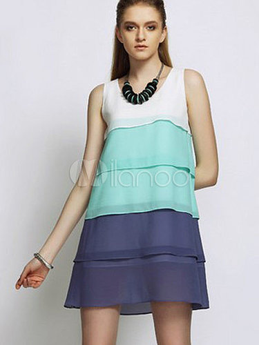 Beautiful Color Block Layered Tiered Crewneck Chiffon Mini Dress