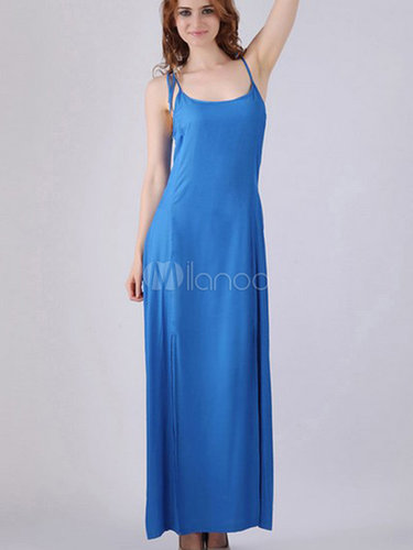 Intriguing Royal Blue Split Split Front Cotton Blend Scoop Neck Maxi Dress