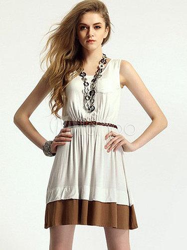 Charming Two-Tone Ruffles Scoop Neck Cotton Blend Short Dress