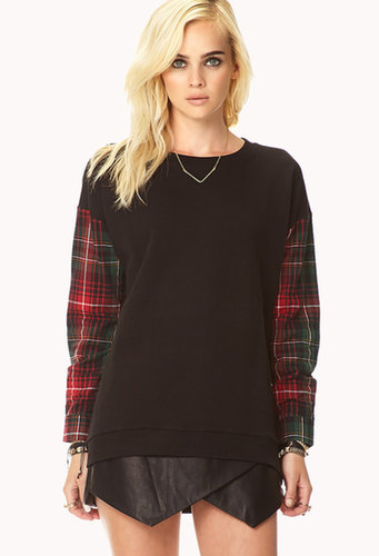 FOREVER 21 On The Range Plaid Sweatshirt