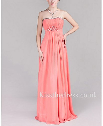 Watermelon Red Chiffon Strapless Beaded Empire Long Evening Dress XZ002