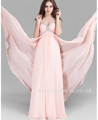 Pink Sweetheart Chiffon Empire Long Evening Dress XZ017