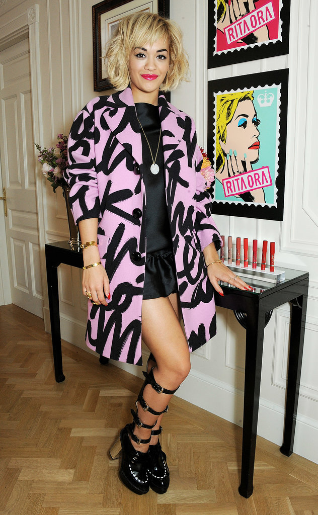 Rira Ora rocked her graffiti coat at The Savoy Hotel with Rimmel London.