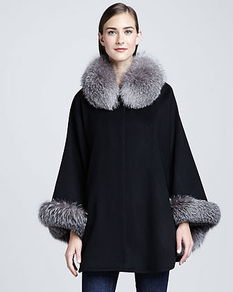Sofia Cashmere Fox-Trim wool-Blend Cape