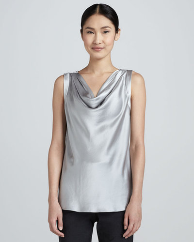 Magaschoni Cowl-Neck Silk Blouse, Saxon Mouline