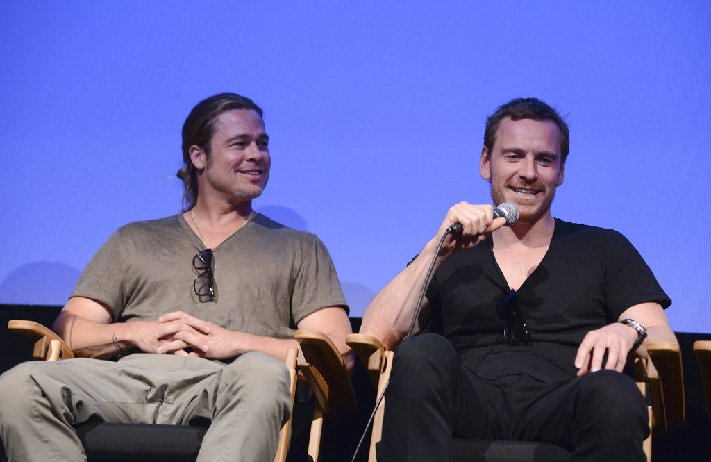 "Michael Fassbender joined the long line of guys who are crushing on the ever-beautiful Brad Pitt. During an interview at a screening last year, Michael had nothing but praise and admiration to express for his colleague, almost to an unhealthy extent: ""Brad is a wonderful human being who has a generous soul. I have a lot of reasons to thank him. He has always been a real champion for me."" He  then said, ""I've been following him ever since. I'm trying to get involved in any film he's doing so I can be with him!"""