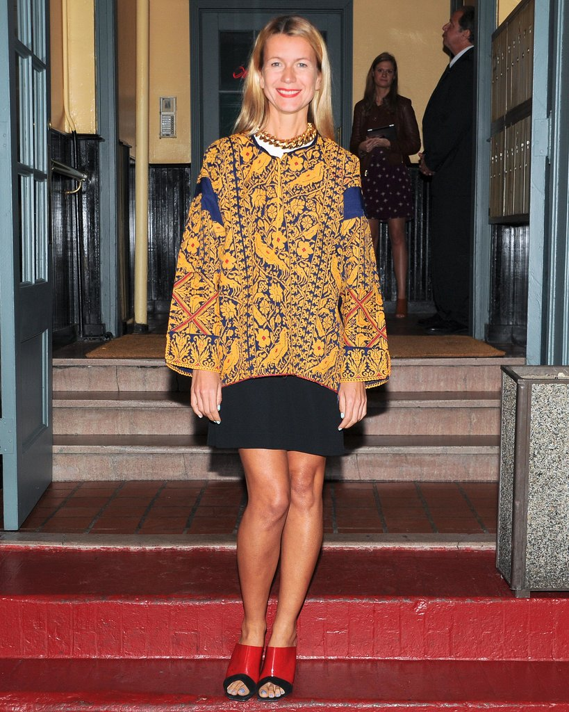 Natalie Joos stepped out for Barneys Ana Khouri launch event in a bold print.