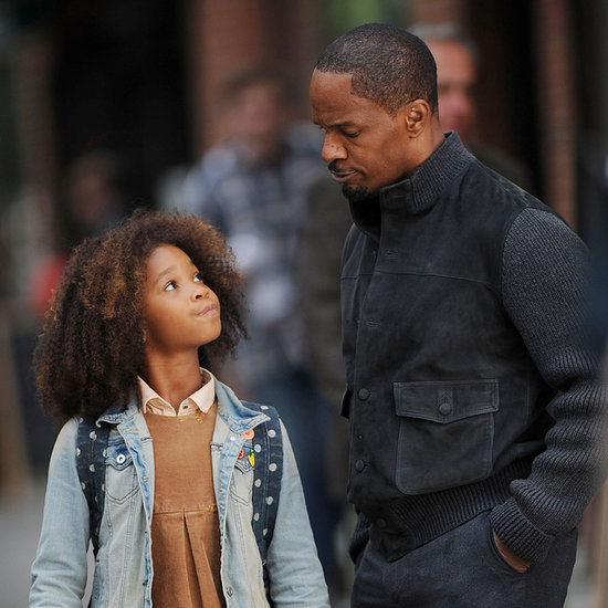 Quvenzhane Wallis and Jamie Foxx on the Set of Annie in NYC