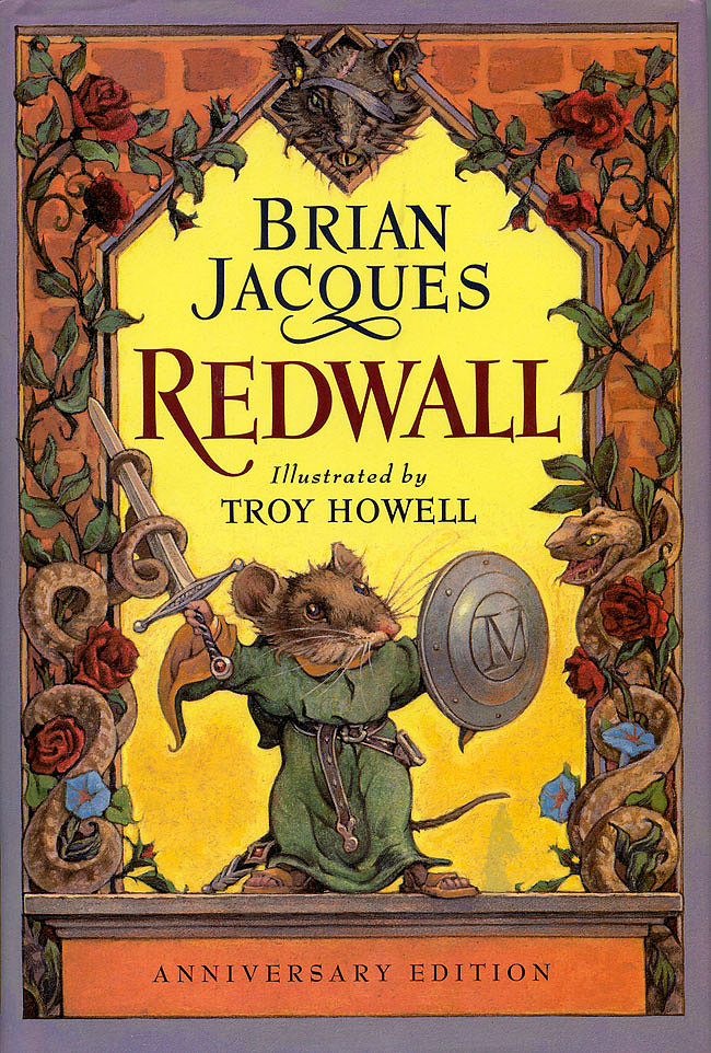 """The Redwall Series Series aimed at kids aren't written like Redwall anymore, my mom likes to tell me. The British books written by Brian Jaques contain complicated story lines, flawed characters with generations of family trees to remember, and an advanced vocabulary that had my cousins and I scrambling for dictionaries. The world of the Redwall series, inhabited by anthropomorphized animals — mice, badgers, moles, etc — lent itself to hours upon hours lost in the story and days of make believe. I think back on endless Maine Summer nights curled up with my brothers and cousins listening to one of our parents reading the latest Redwall book as we fell asleep. You can still find members of my family using what has become a standard practice of """"raising an admonitory paw"""" and saying""""Patience, young one, patience,"""" a quote from Redwall. — MG"""