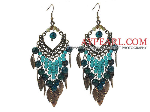 Assorted Indian Agate and Turquoise and Phoenix Vintage Style Earrings