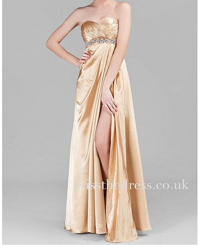 Champagne Satin Sweetheart Empire Long Evening Dress With Slit XZ027
