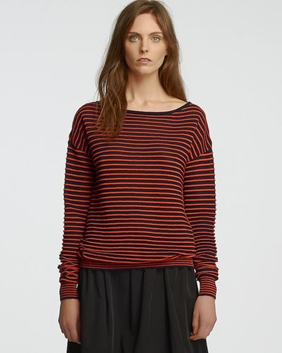 HALSTON HERITAGE Sheer Mini Stripe Sweater - Boat Neck