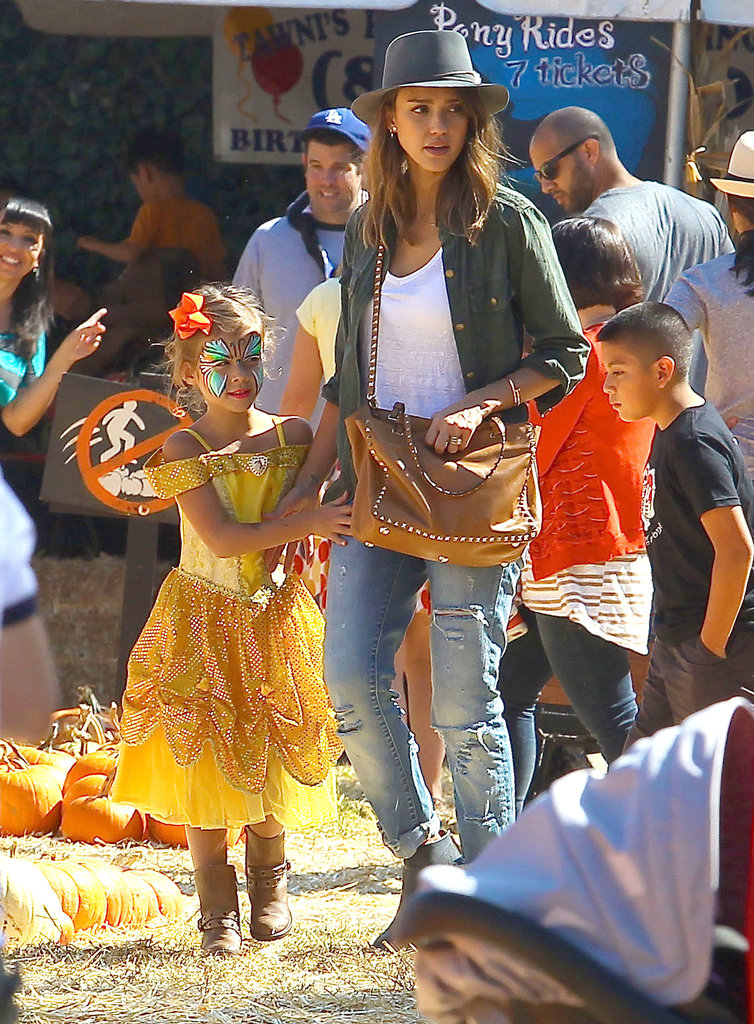 Jessica Alba took her daughter Honor, who was dressed up as Belle, through an LA pumpkin patch.