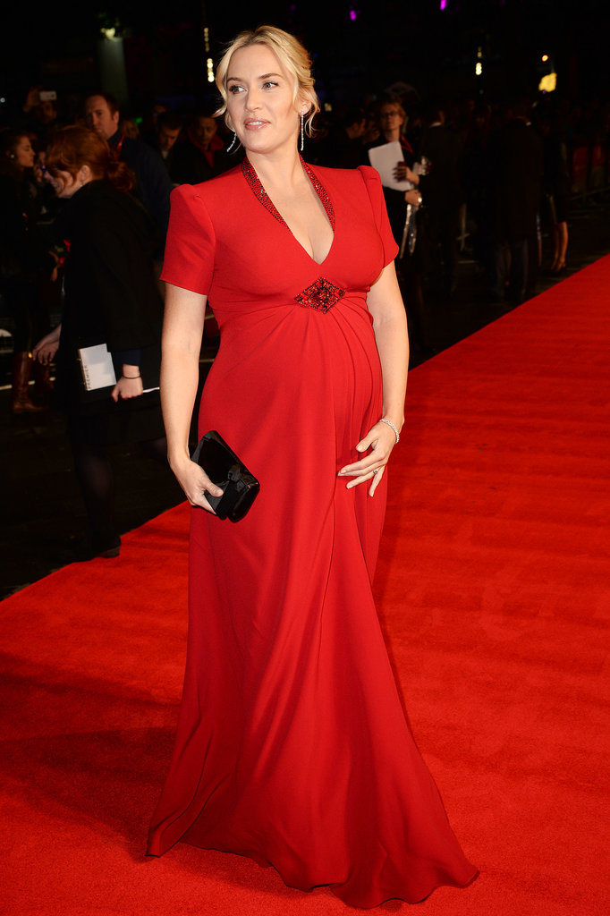 Kate Winslet wore a beautiful Jenny Packham red gown and De Beers jewelry at the premiere of Labor Day.