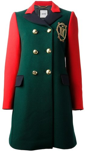 Moschino embroidered colour block peacoat