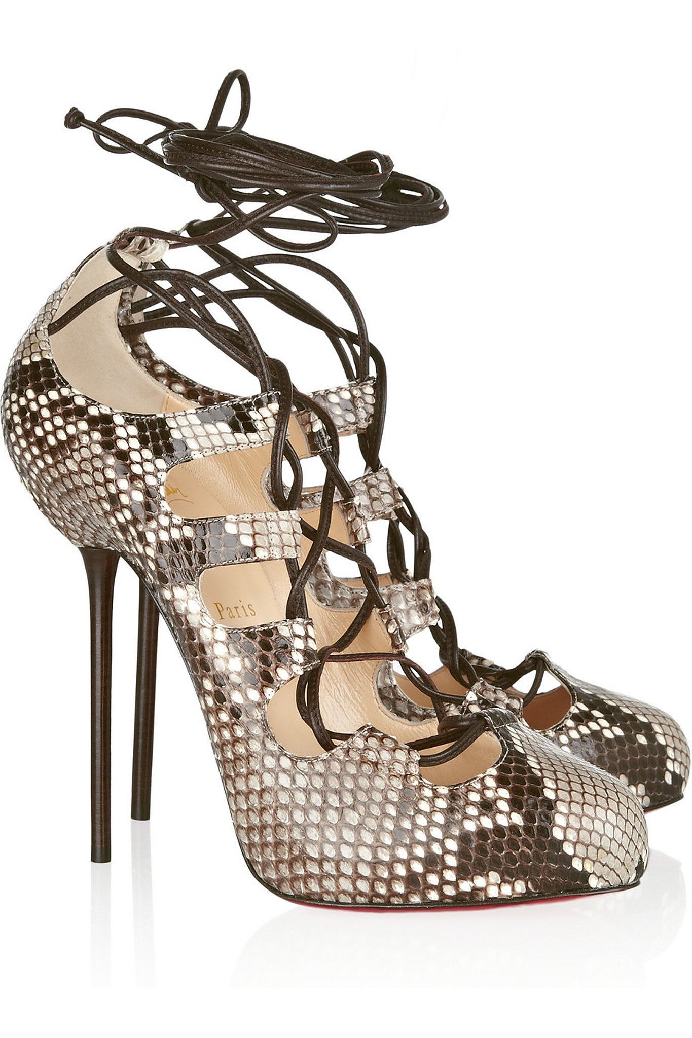 Christian Louboutin Wales Python Lace-Up Pumps ($628 on sale ...
