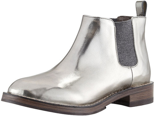 Brunello Cucinelli Pull-On Metallic Ankle Boot