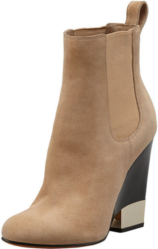 Givenchy Suede Metal-Tip Wedge Ankle Boot