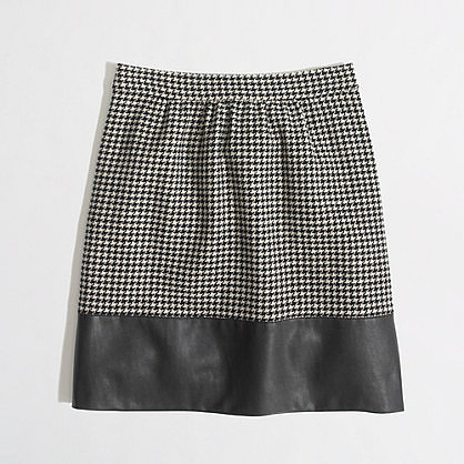 Factory faux leather-trim skirt