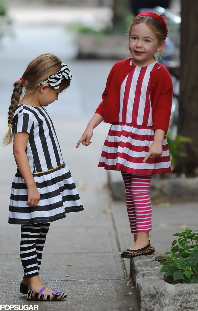Tabitha and Loretta sported coordinating striped outfits with animal-print flats during their morning walk.