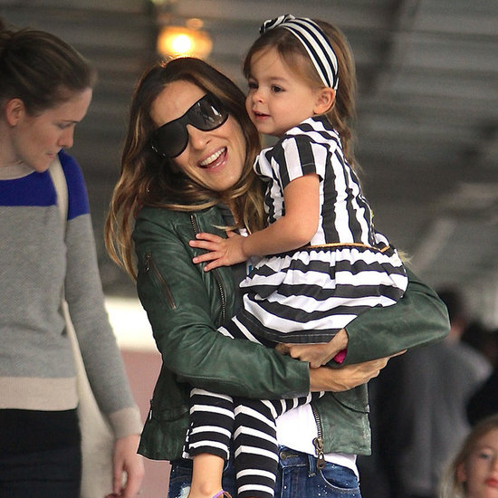 Sarah Jessica Parker With Twin Daughters in Stripes