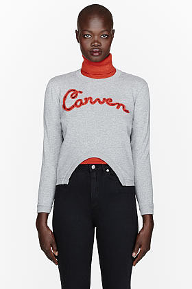 CARVEN Heather grey cut-out embroidered logo sweatshirt