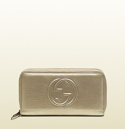 Soho Metallic Leather Double Zip-Around Wallet