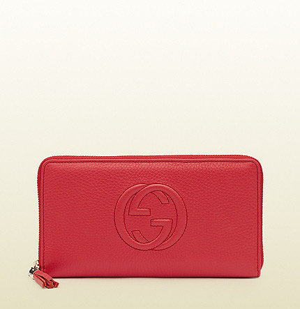 Soho Begonia Pink Leather Zip Around Wallet