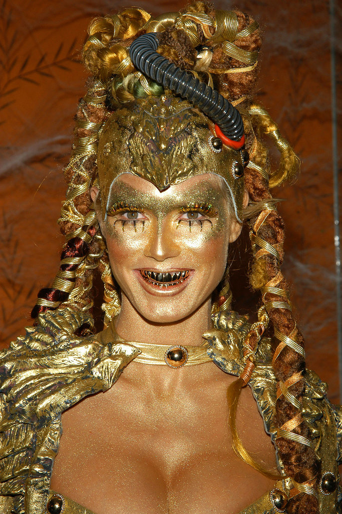 In 2003, Heidi opted for a futuristic alien costume, decking herself out in gold from head to toe.
