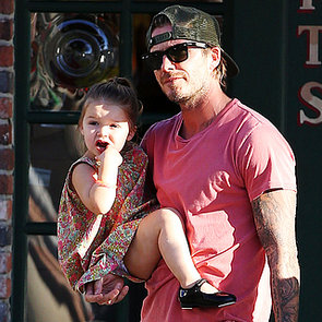 David Beckham and Harper Kissing