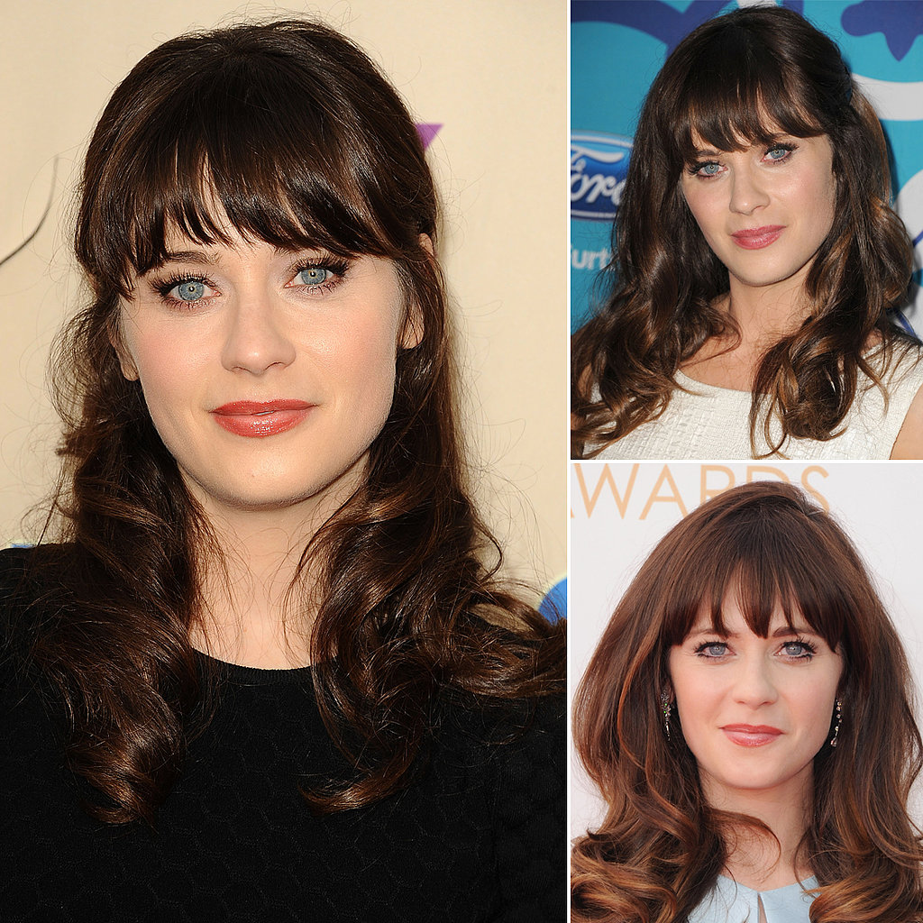 Who: Zooey Deschanel The look: Quirky bangs and long lashes Zooey Deschanel knows how to play up her assets, namely her baby-blue eyes. So her middle-bangs-and-lashes look is one we've seen on many a carpet.