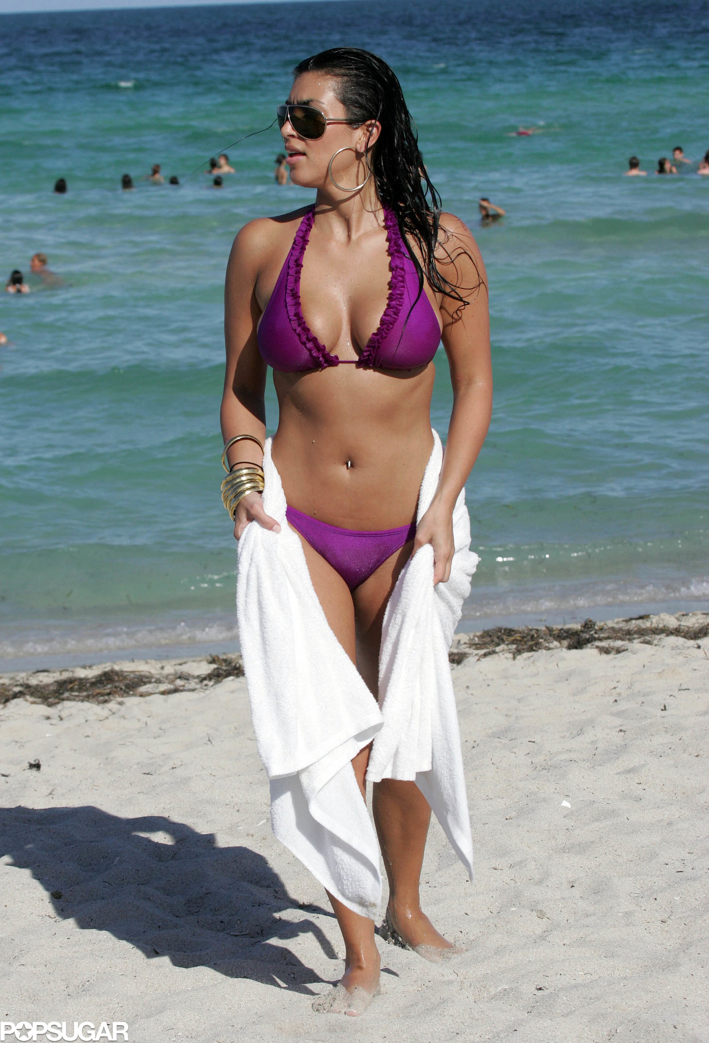 She hit the ocean in Miami Beach during a July 2007 trip with her sisters.