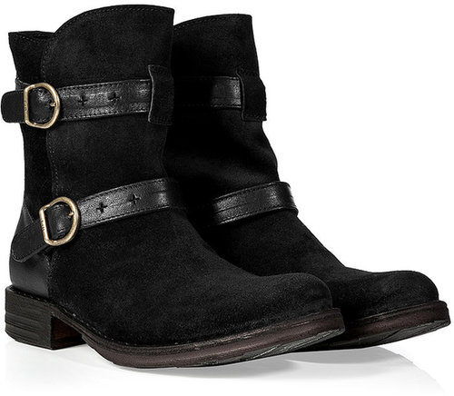 Fiorentini & Baker Black Suede Buckled Eyla Ankle Boots