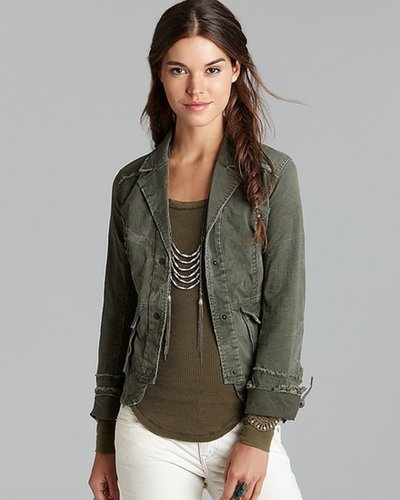 Free People Jacket - Military Ruffle Back Twill