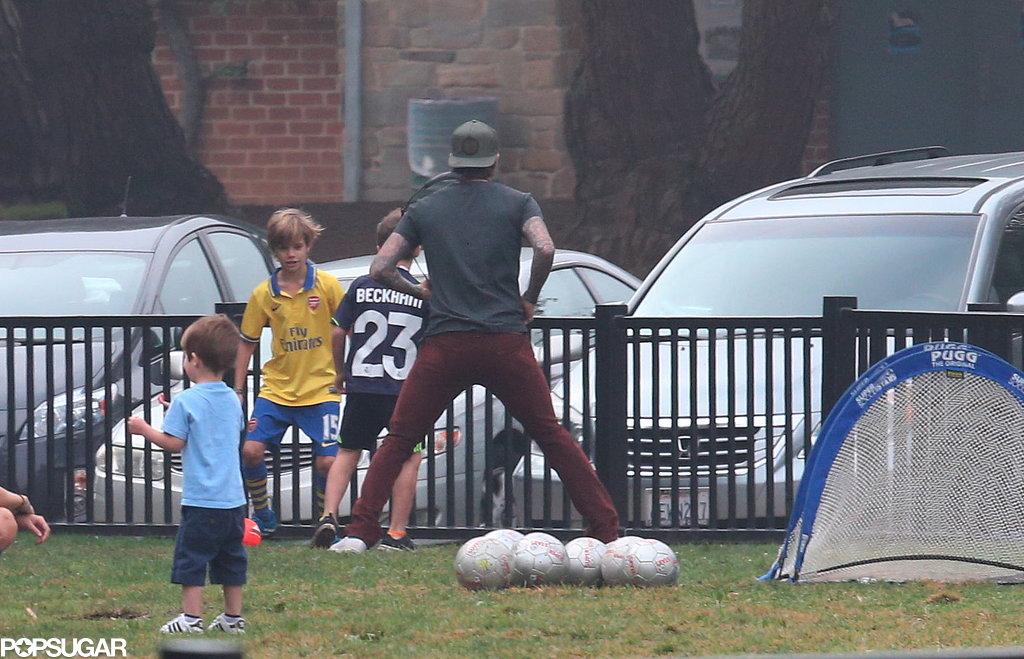 The Beckham boys played soccer together in LA.
