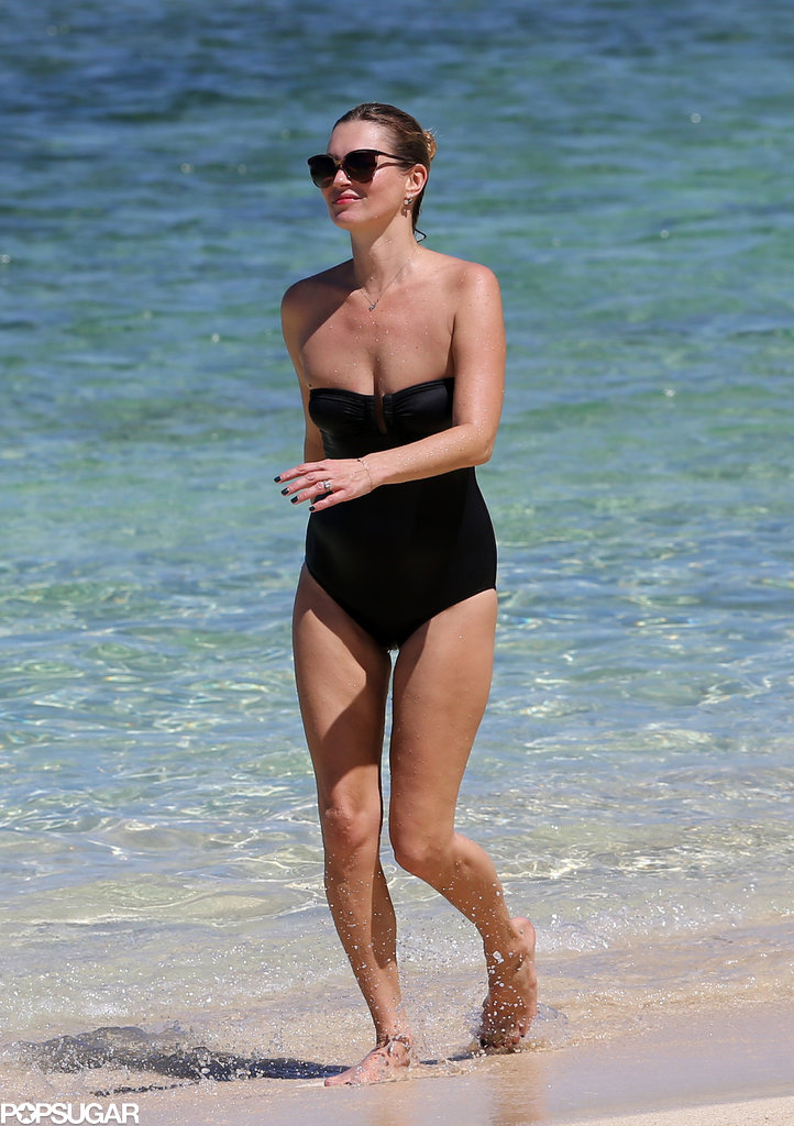 Kate Moss walked on the beach.