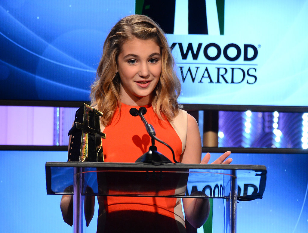 Sophie Nelisse was one of three recipients of the spotlight award at the Hollywood Film Awards on Monday.