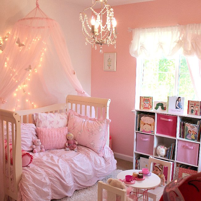 Pink princess butterfly room for girls popsugar moms for Baby girl butterfly bedroom ideas