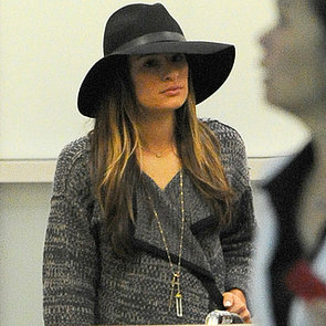 Lea Michele Wearing a Ring on Her Left Hand at LAX