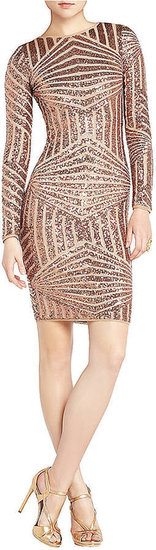 BCBGMAXAZRIA Leondra Sequin Drop-Back Dress
