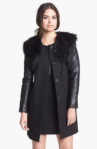 BB Dakota Mixed Media Coat with Detachable Faux Fur Vest (Online Only)