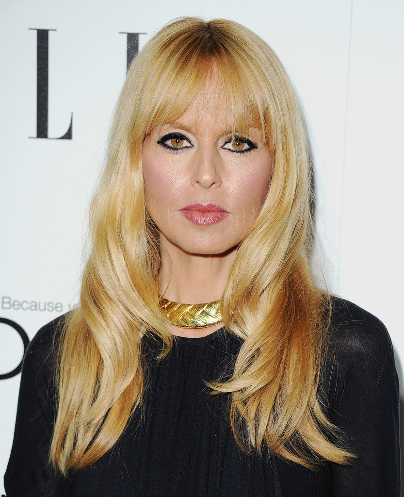 Rachel Zoe wore her signature black eyeliner and face-framing bangs on the Women in Hollywood red carpet.
