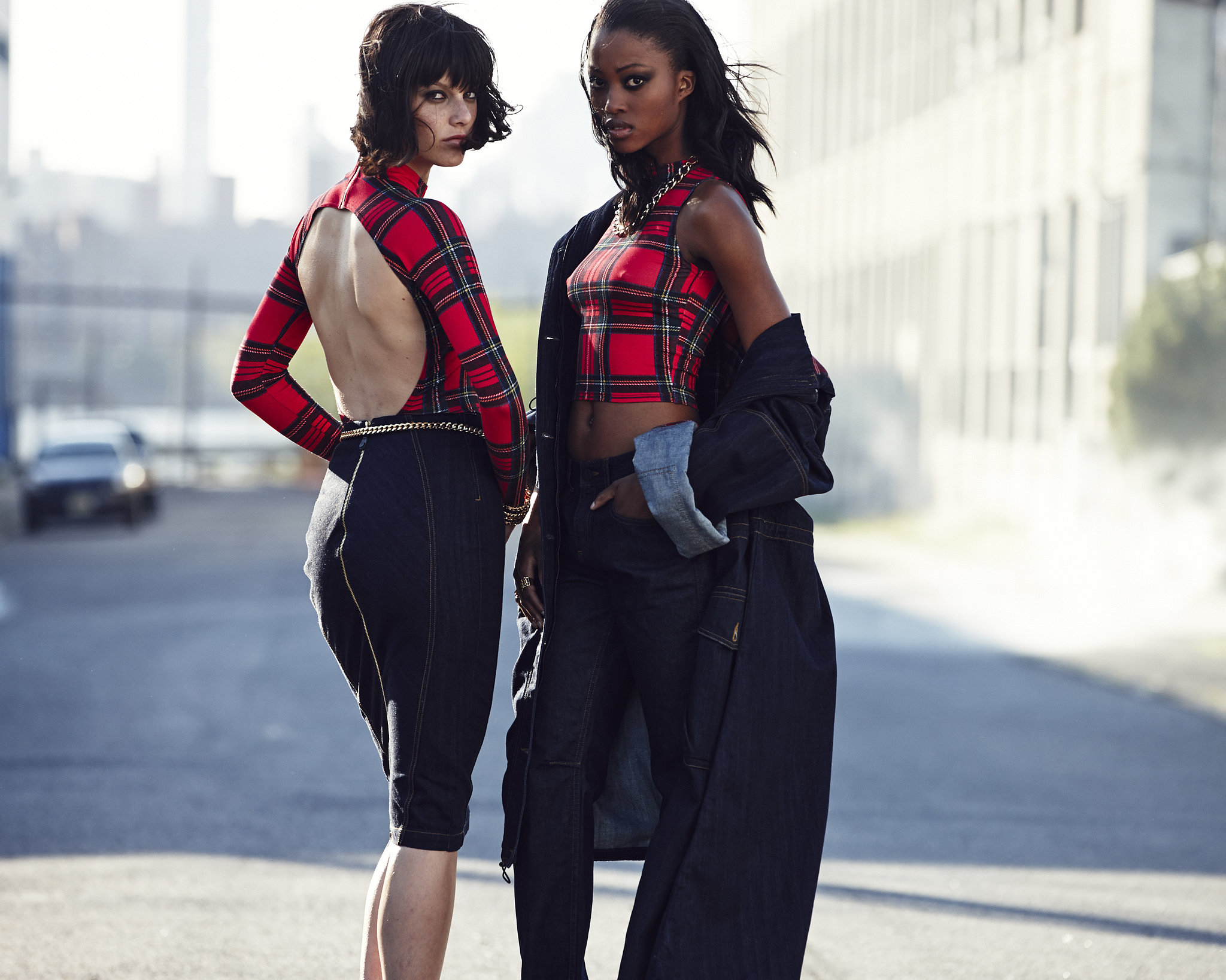 Backless, sleeveless pieces add some edge to an otherwise classic fabric like tartan. Photo courtesy of River Island