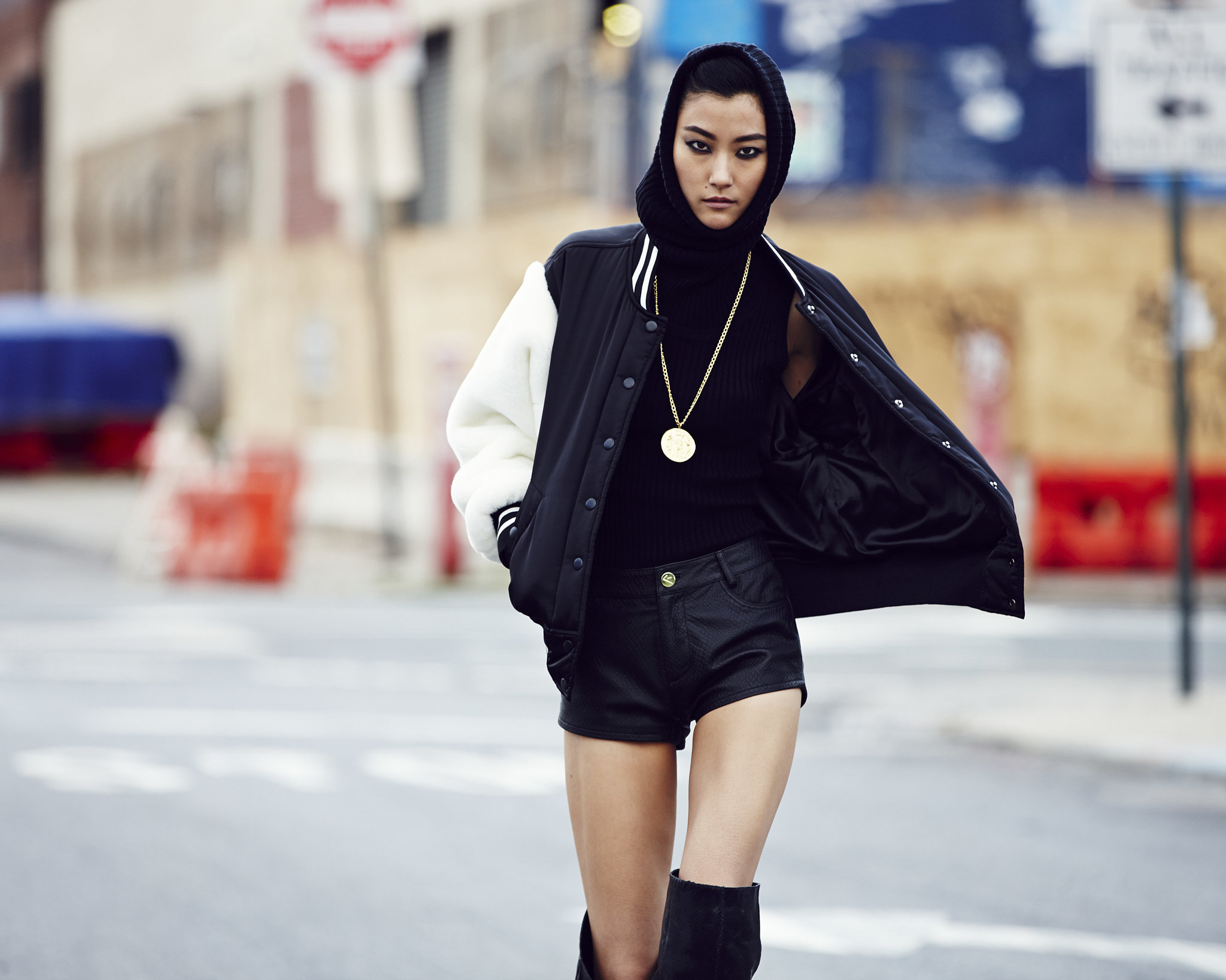 An update on the classic varsity jacket: fuzzy sleeves! Photo courtesy of River Island