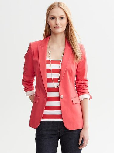 Coral Sateen One-Button Blazer